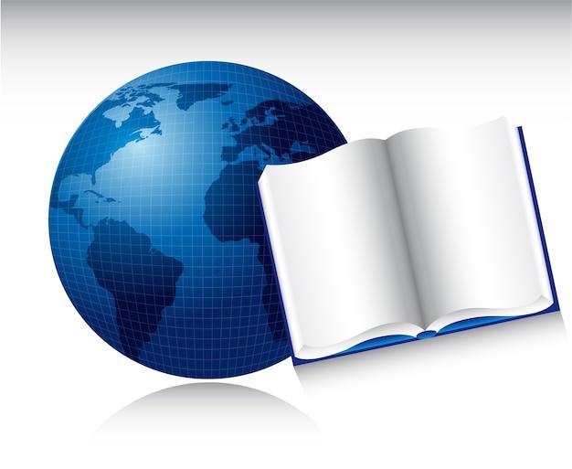 Livro aberto sobre o planeta azul com ilustração vetorial de sombra
