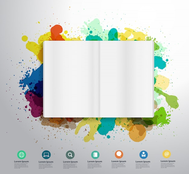 Livro aberto splatter cor pintura