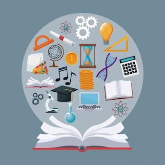 Livro abstrato com ícones de borda circular, conhecimento aberto