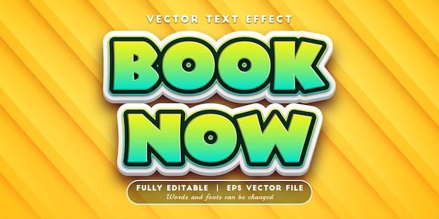 Livro agora efeito de texto com estilo de texto editável
