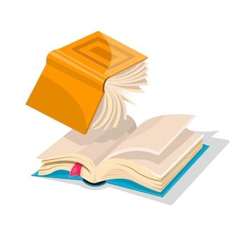 Livro amarelo invertido aberto caindo para outro azul com marcador.