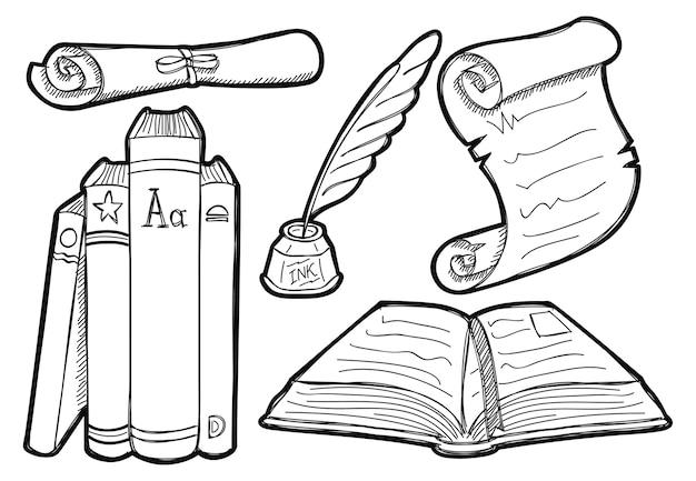 Livro antigo e pergaminho em estilo doodle