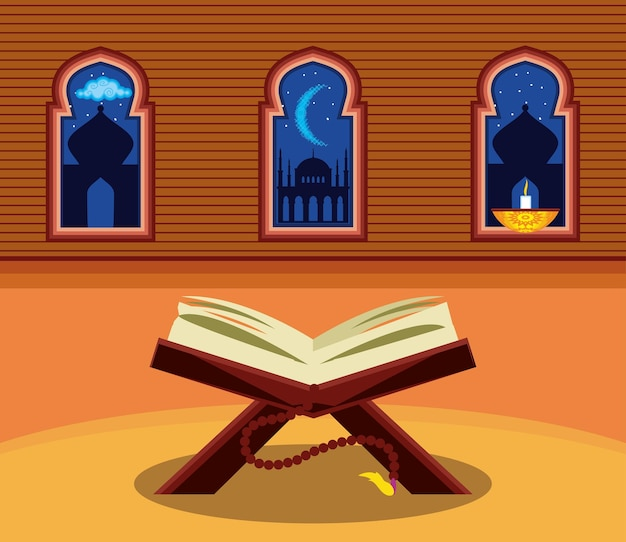 Livro árabe templo à luz de velas