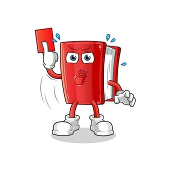 Livro árbitro personagem de desenho animado com cartão vermelho
