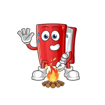 Livro assando marshmallows personagem. mascote dos desenhos animados