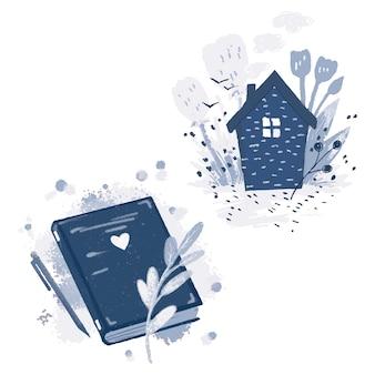 Livro azul, caneta e galhos, uma casa com fumaça saindo de uma chaminé e lindas flores