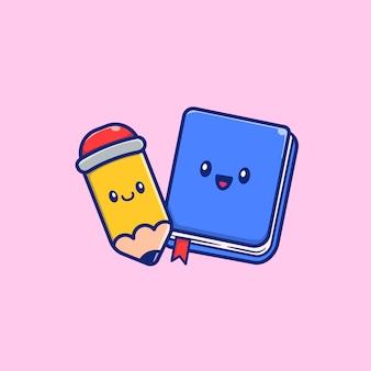 Livro bonito e lápis cartoon vector icon ilustração. conceito do ícone da educação isolado vetor superior. estilo cartoon plana