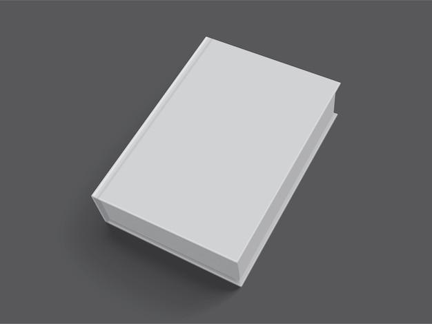 Livro branco com capa grossa isolada no preto