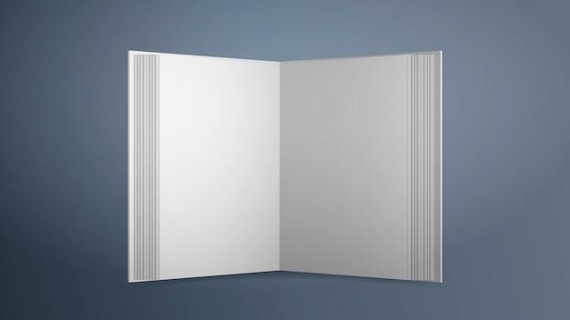 Livro branco em branco realista. . abra o livro com folhas vazias em um fundo cinza. bom para livros de publicidade.