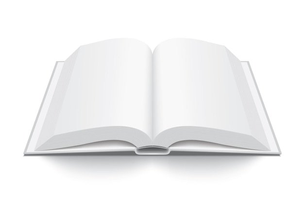 Livro branco grosso aberto com capa dura isolada