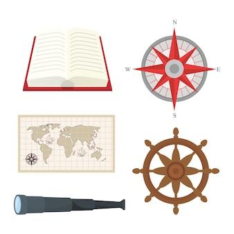Livro bússola mapa leme e design de telescópio mar náutico navegação oceânica viagem subaquática água e tema marinho