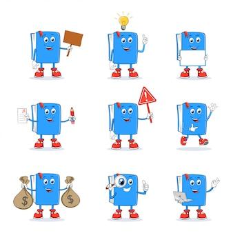 Livro cartoon mascot character set collection