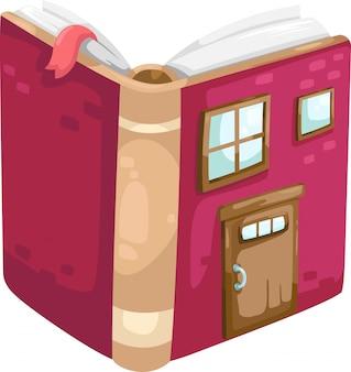 Livro, casa, vetorial, ilustração