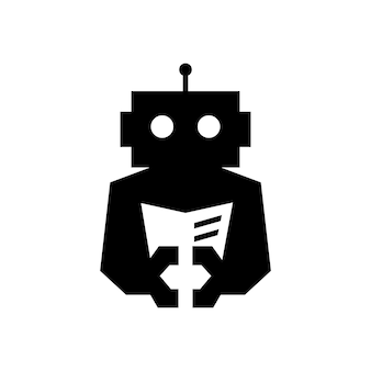 Livro ciborgue do robô com ilustração do ícone do logotipo do vetor do espaço negativo do jornal