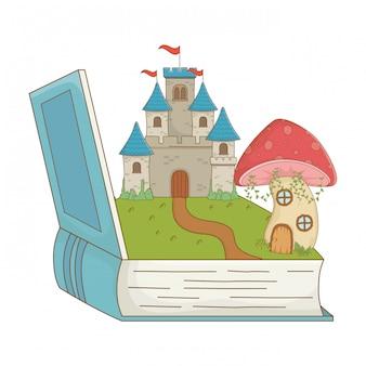 Livro cogumelo e castelo de ilustração em vetor design de conto de fadas