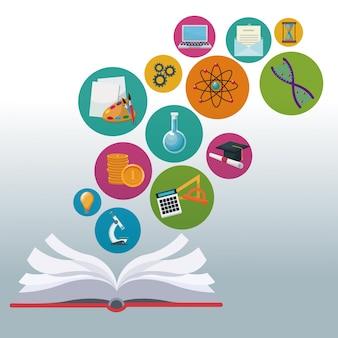 Livro colorido livro aberto com ícones de bolhas conhecimento acadêmico