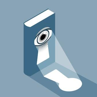 Livro com buraco de fechadura e olho na capa e raio de luz frontal