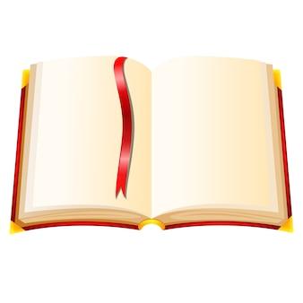 Livro com capa vermelha sobre um fundo branco Vetor Premium
