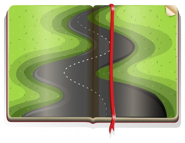 Livro com cena de estrada