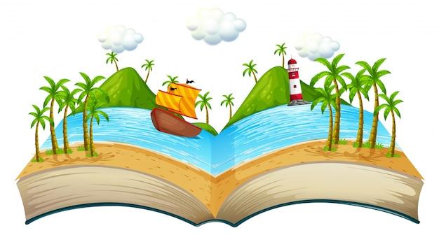 Livro com cena oceânica