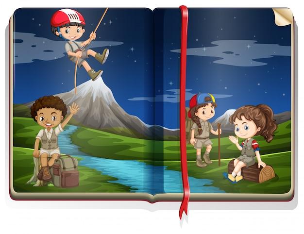 Livro com crianças acampadas no parque