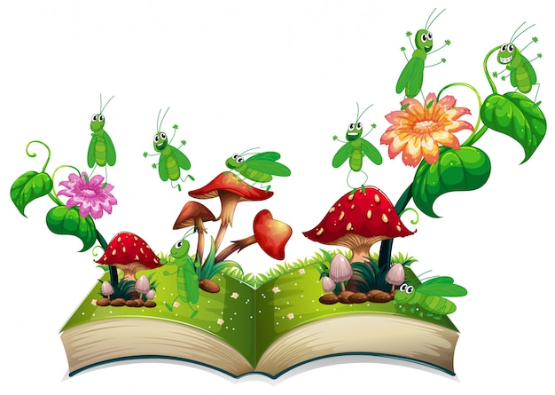 Livro com gafanhoto e cogumelo
