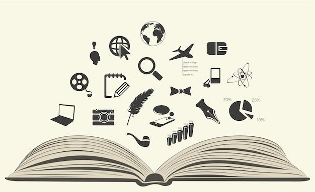 Livro com ícones.