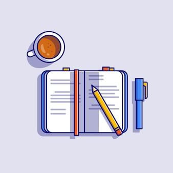 Livro com lápis, caneta e ilustração do ícone dos desenhos animados de café. conceito de ícone de objeto de educação isolado. estilo flat cartoon