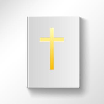 Livro com uma cruz de ouro. vista do topo