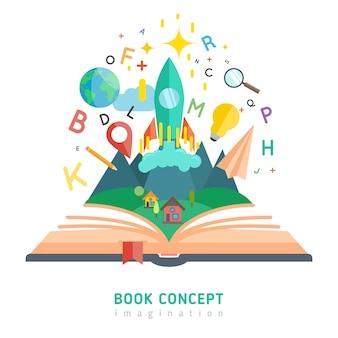 Livro, conceito, ilustração
