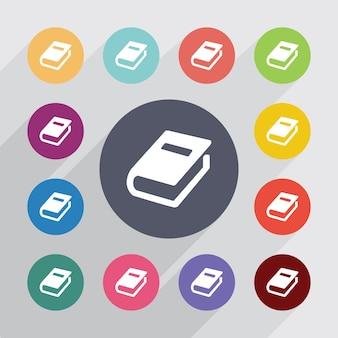 Livro, conjunto de ícones lisos. botões coloridos redondos. vetor