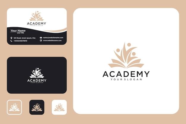 Livro da academia com modelo de design de logotipo de pessoas