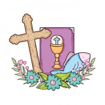 Livro da bíblia sagrada com cruz