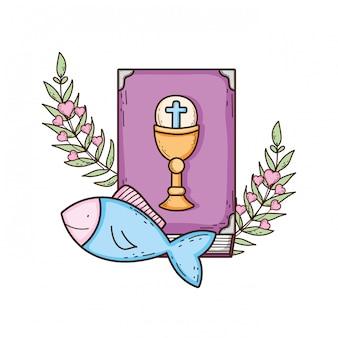 Livro da bíblia sagrada com peixes