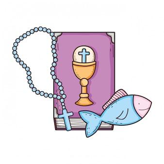 Livro da bíblia sagrada com rosário
