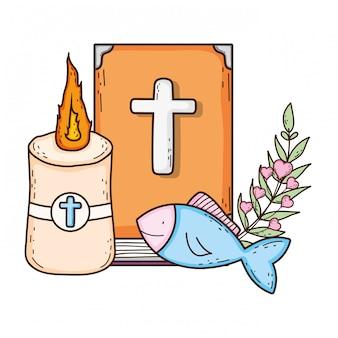Livro da bíblia sagrada com vela