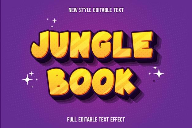 Livro da selva de efeito de texto amarelo e roxo