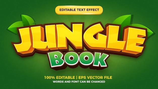 Livro da selva editável com efeito de texto em quadrinhos estilo de jogo Vetor Premium