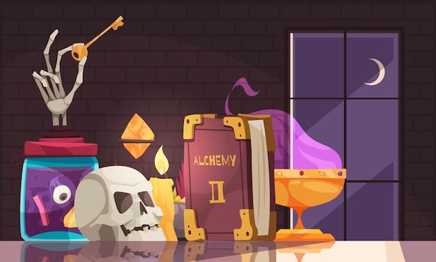 Livro de alquimia, vela de caveira e outras ferramentas para experimentos alquímicos em mesa de superfície de espelho