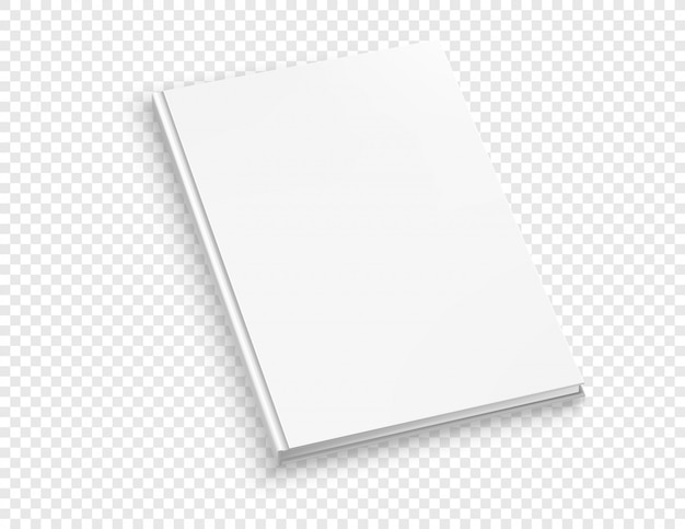 Livro de capa dura branca fina vector mock isolado no fundo transparente.