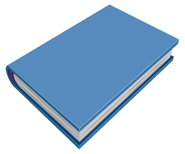 Livro de capa dura fechado azul. livro tridimensional