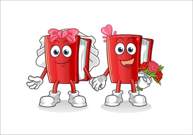 Livro de casamento de personagem de desenho animado