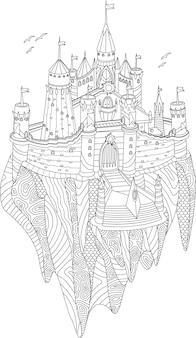Livro de colorir adulto com castelo de fantasia em uma ilha voadora