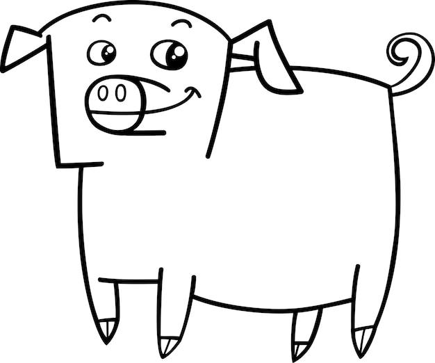 Livro de colorir animal de porco