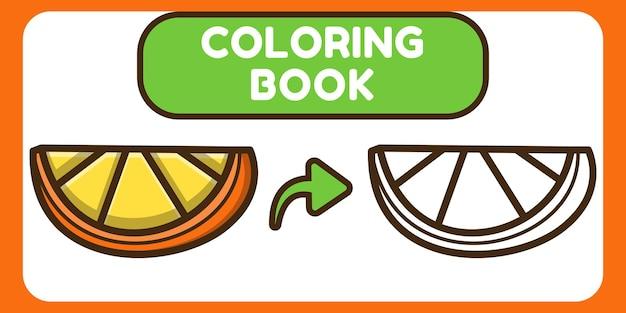 Livro de colorir bonito desenho animado desenhado à mão laranja para crianças
