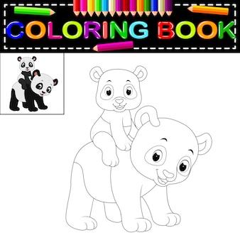 Livro De Colorir Bonito Panda Feliz Vetor Premium