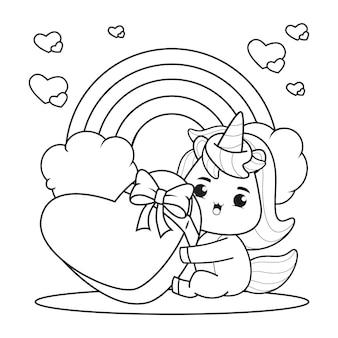 Livro de colorir bonito unicórnio para ilustração do dia dos namorados