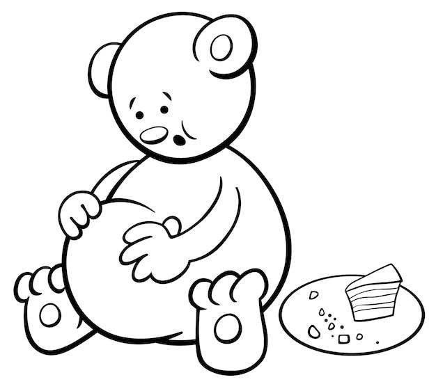 Livro de colorir cartoon urso