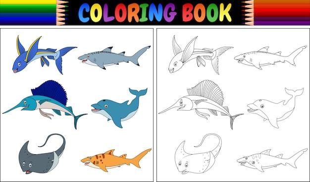 Livro de colorir coleção de peixes marinhos