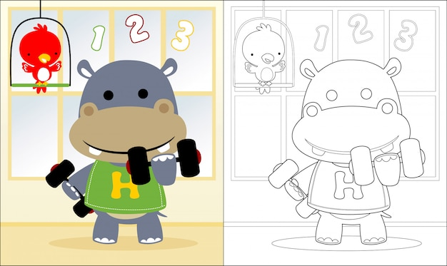 Livro de colorir com barra de levantamento de hipopótamo